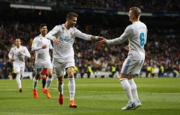 CR7 e Kroos comemoram gol   Foto: Javier Soriano/AFP/Getty Images