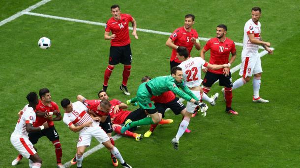 Schar watches on as his header flies towards goal against Albania | Photo: Goal.com