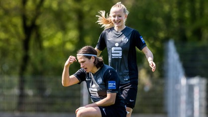 Lea Schüller celebrates her goal against Duisburg | Source: wdr.de