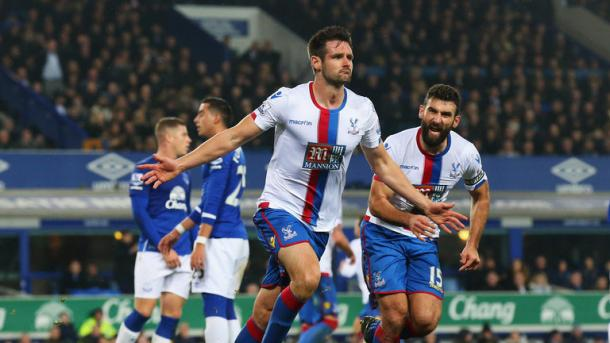 Scott Dann celebrates after giving his side the lead at Goodison Park in December | Photo: Getty images