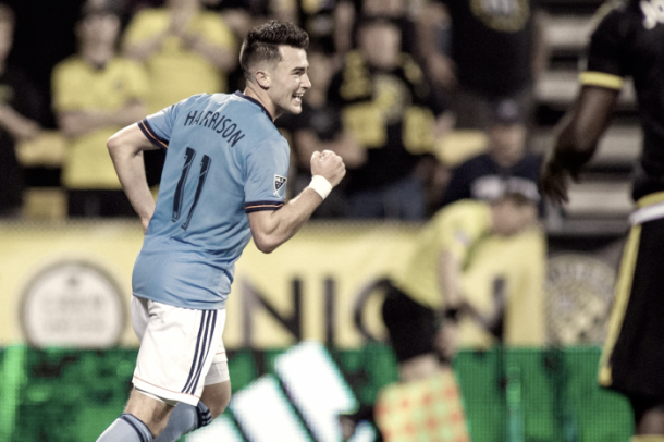 Jack Harrison celebrating one of his two goals in Columbus. | Photo: NYCFC