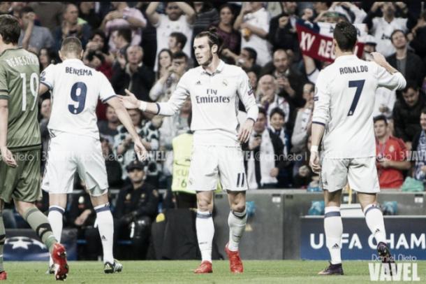 La BBC celebra un gol. || Imagen: Dani Nieto (VAVEL)