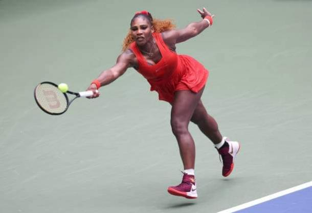 Serena stretching during her US Open campaign (Al Bello)