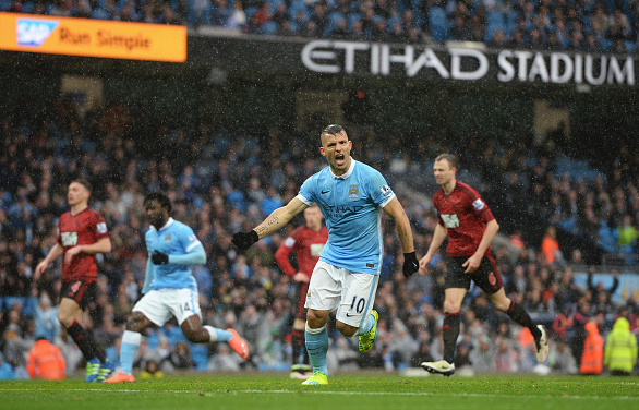200 club: Aguero wheels away to celebrate his well-taken penalty, to equalise for the Citizens. | Photo: Getty