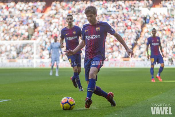 Sergi Roberto en el partido pasado en el Bernabéu / Foto: Daniel Nieto (VAVEL.com)