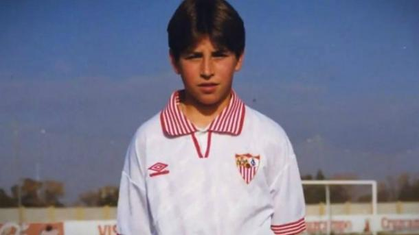 Sergio Ramos en la cantera del Sevilla