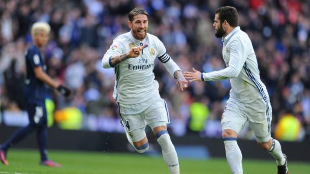 Sergio Ramos esulta dopo la sua doppietta al Malaga (Fonte foto: As.com)