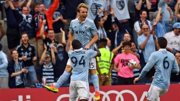 Seth Sinovic cebrates a rare goal | Source: Peter Aiken-USA TODAY Sports