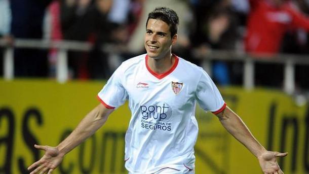 Manu del Moral celebra su gol contra el Mallorca / Fuente: Felipe Guzman