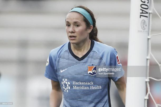 Shea Groom and Sky Blue FC, unable to find second goal vs Portland (Photo by Rich Graessle/Icon Sportswire via Getty Images)
