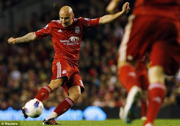 Shelvey scores against Chelsea in 2012 (photo; Reuters)