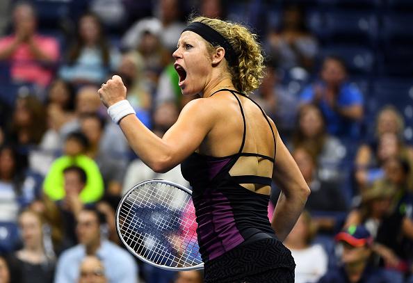Siegemund reacts in her third round match with Williams (Photo by Alex Goodlett / Getty Images)