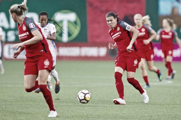 Christine Sinclair with the Portland Thorns at Providence Park in Portland, OR on July 15, 2018 | Photo: Portland Thorns FC