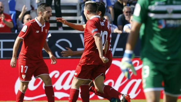 Sarabia festeggia il gol decisivo per il Siviglia sul campo del Leganes, sabato. | Fonte immagine: Mundo Deportivo