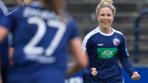 Svenja Huth celebrates her goal against Jena | Source: rbb-online.de