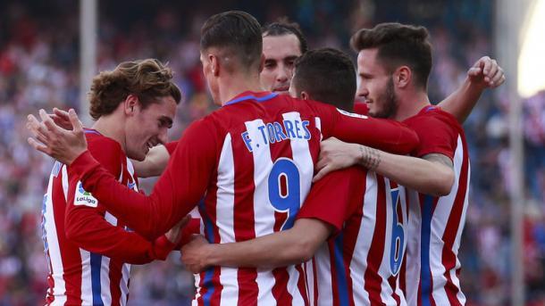 Grande prova di squadra da parte dell'Atletico nell'ultimo turno di Liga. Ben cinque le reti rifilate al Las Palmas. Fonte foto: Sky Spors