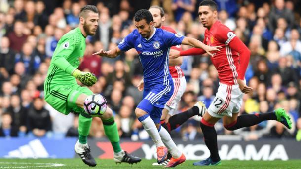Pedro supera De Gea e deposita in rete. L'ex Barça è uno dei protagonisti del Chelsea di Conte. Fonte foto: sky sports