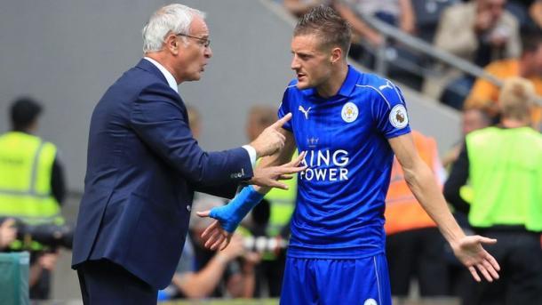 Ranieri e Vardi a colloquio. | Fonte immagine: Sky Sports