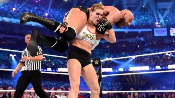 Rousey's love affair with WWE started off with a laugh eight years ago (image: SkySports)