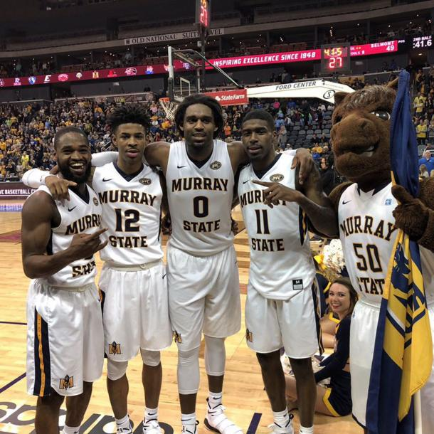 Murray State players celebrate clinching the school's first NCAA berth in six years/Photo: Murray State athletics
