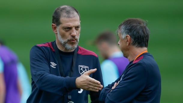 Above: Slaven Bilic leading a West Ham training session in their pre-season camp of Austria | Photo: whufc.com