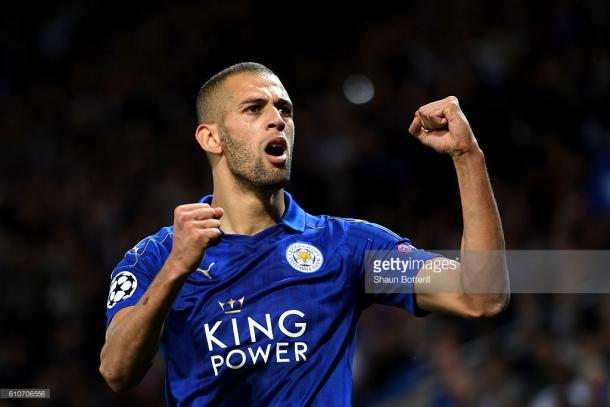 Islam Slimani celebrates his goal in Leicester's 1-0 win over Porto on the UEFA Champions League | Photo: Getty/ Shaun Botteril