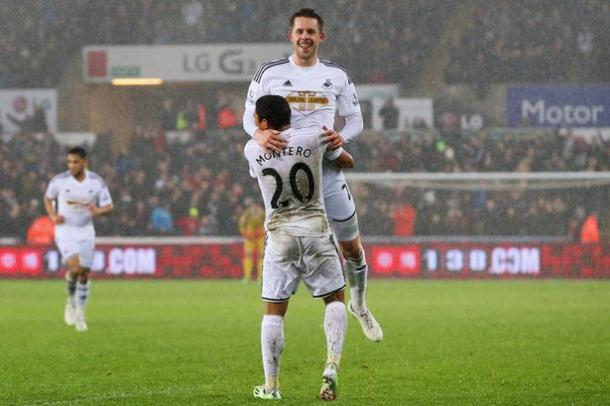 Sigurdsson and Montero are just two of Swansea's key players, that City will be weary of defensively (Image: Daily Mail)