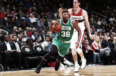 Marcus Smart and the Celtics struggled on Wednesday. (Ned Dishman/Getty Images USA)