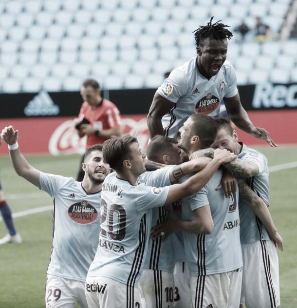 Los jugadores del Celta tras el gol del empate. | Fuente: RC Celta.
