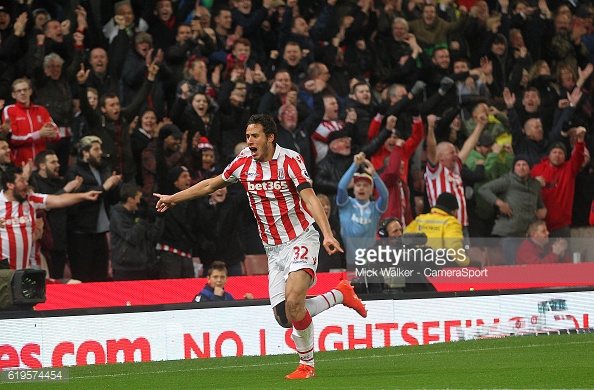 Ramadan Sobhi celebrates as his shot leads to an own goal by Alfie Mawson. | Photo: Michael Regan/Getty Images