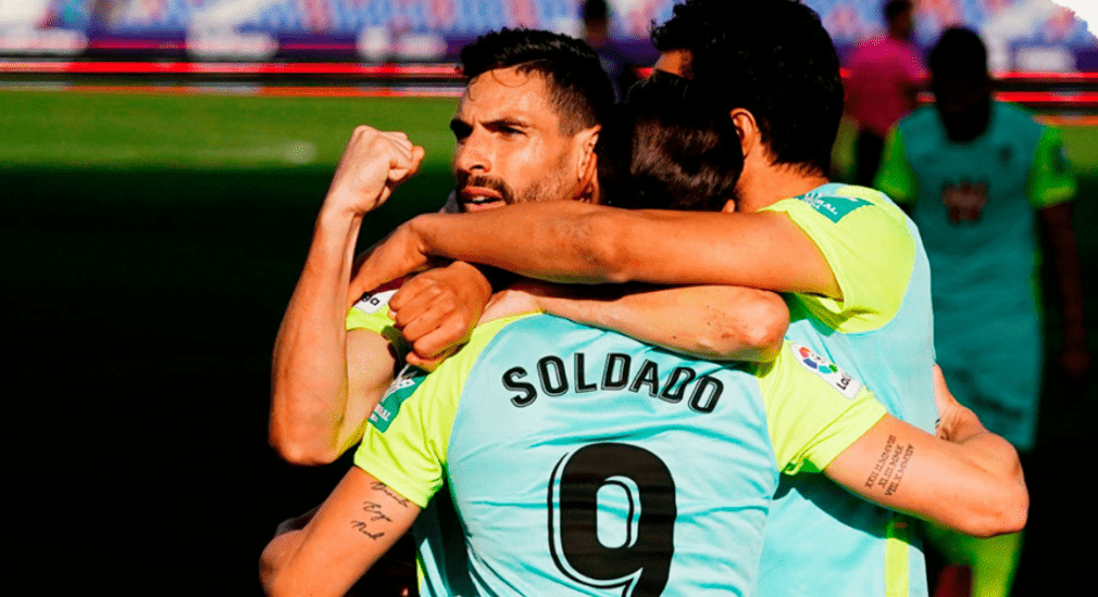 Soldado salvó un punto en el añadido gracias a una acción de fe del almeriense Antonio Puertas. Foto: Granada CF.