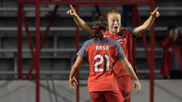 Emily Sonnett and Hayley Raso celebrating goal. | Photo: Portland Thorns FC - @ThornsFC Twitter