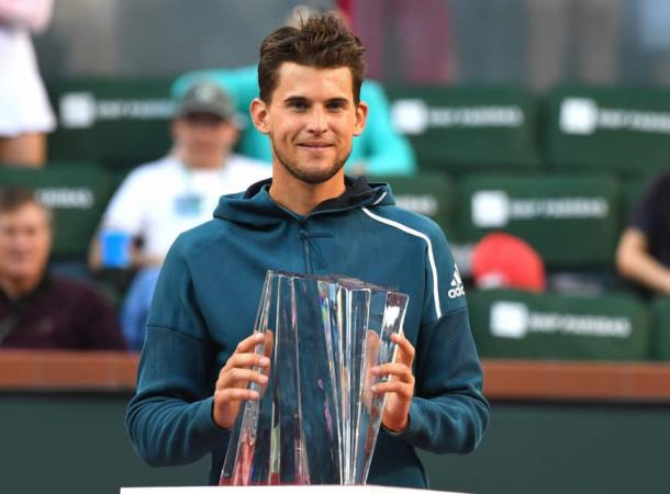 Thiem rallied from a set down to win in the California desert/Photo; Jayne-Kamin Oncea