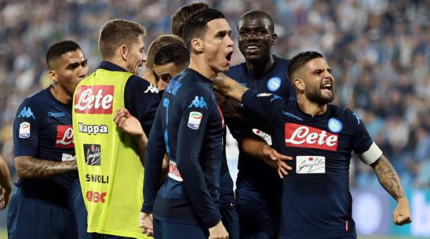 L'esultanza degli azzurri al gol di Ghoulam all'andata