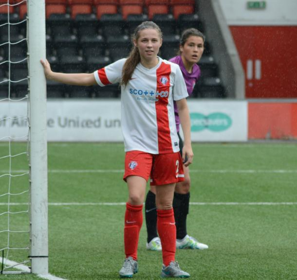 Spartans' Sarah Clelland scored on her debut. Photo: Twitter @spartansfcwomen