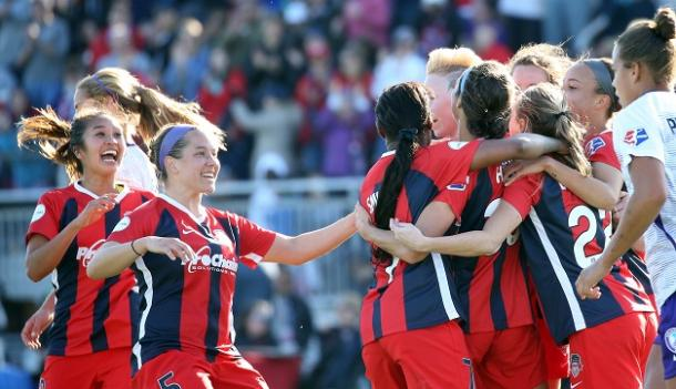Goal celebration from the Spirit in March win over the Orlando Pride l source: washingtonspirit.com