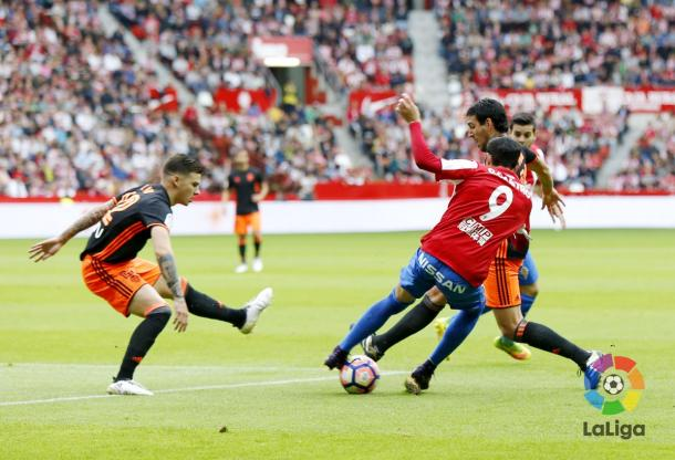 Fasi di gioco di Sporting Gijon - Valencia - Foto LaLiga Twitter
