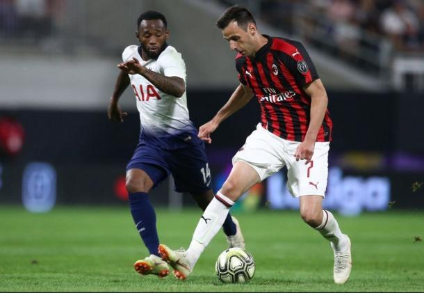 El Tottenham, durante un partido de pretemporada ante el Milan | Foto: Tottenham