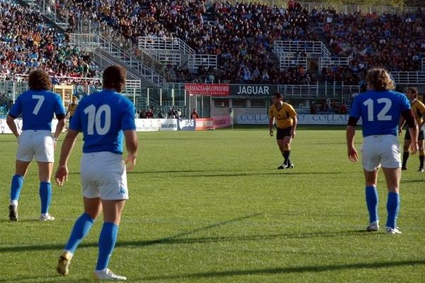 La selección italiana de rugby durante un partido en el Flaminio. / Foto: media-s3.blogosfere.it