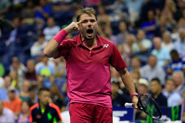 Wawrinka after levelling the second set against Nishikori (Photo by Chris Trotman / Getty Images)