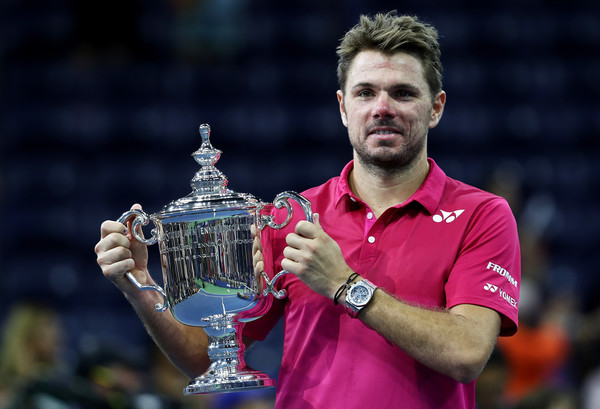 Wawrinka holding his third Grand Slam singles title at the US Open (Photo by Elsa / Getty Images)