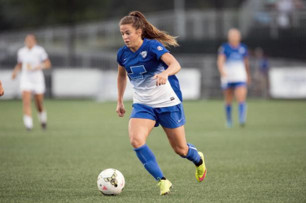 U.S. international and Boston Breakers forward Stephanie McCaffrey will need to start producing goals as soon as possible for the goal less Breakers. Photo provided by Mike Gridley