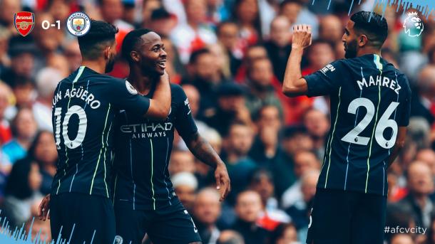 L'esultanza di Sterling - Foto Manchester City Twitter