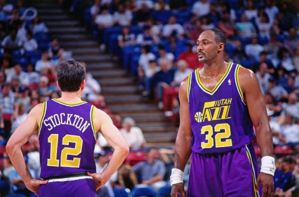 John Stockton y Karl Malone con los Utah Jazz   Foto: Getty Images