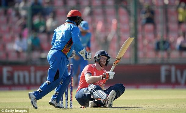 Ben Stokes collapses to the floor after getting out (photo: Getty Images)