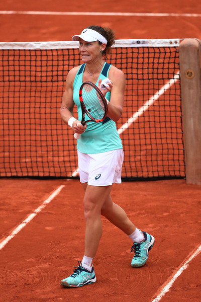 Stosur celebrates after her quarterfinal win over Pironkova on Day 11 of the French Open (Photo by Julian Finney/ Source: Getty Images)