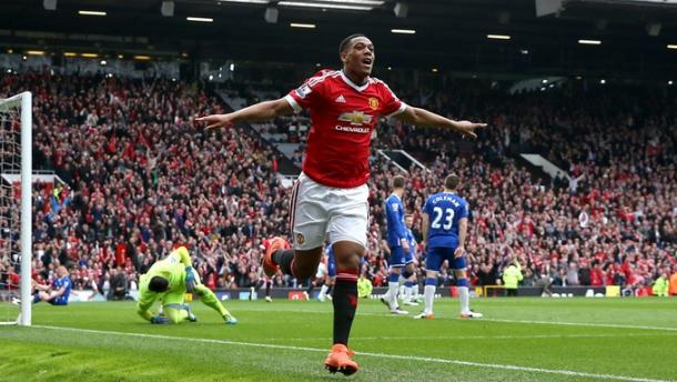 Martial celebrates after scoring the winner against Everton last weekend | Photo: Getty Images