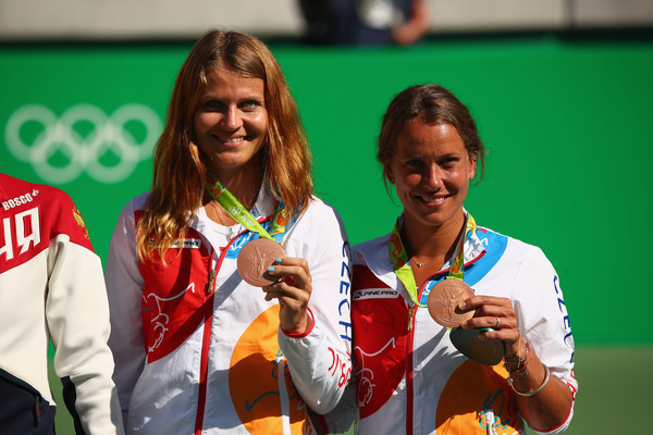 Strycova and Safarova posing with their bronze medals (Photo by Clive Brunskill / Getty Images)