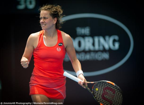 Strycova in action at the ASB Classic (Source : Jimmie48 Tennis Photography)