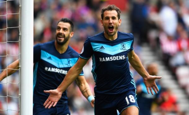 Cristhian Stuani celebrates his brace against Sunderland | Photo: Premier League